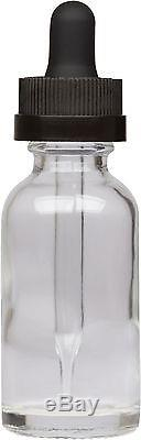 1000 Pack Clear Glass Bottle with Black Child Resistant Glass Dropper 1 oz