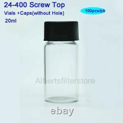 100-1000pcs 20ml Lab Glass Vials Bottles Clear Containers+Black Screw Cap HPLC