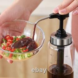 10XSauce Dispenser Pump with Glass Bottle for Ketchup Honey Syrup Salad