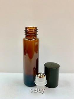 10ml PLAIN 1/3 oz AMBER Glass Bottles With Plastic Black Cap & Steel Roller
