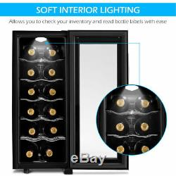 12 Bottle Thermoelectric Wine Cooler Freestanding Temperature Display Glass Door