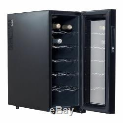 12 bottle Wine Beverage Cooler Glass Door LED Display Fridge Bar Thermoelectric