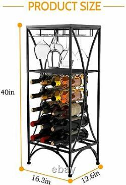 15-Bottle Metal Wine Rack Wine Storage Display with 3 Glass Holder & Shelf Black