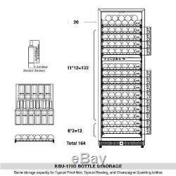 164 Bottle Dual Zone Wine Cooler Drink, Upright Fridge with Glass Door