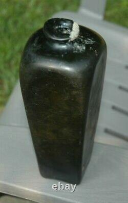 1700's BLACK GLASS CASE GIN QUART BOTTLE pontil American / British 18th Century