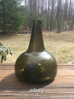 1700's BLACK GLASS DUTCH ONION BOTTLE 18th Century 7 Tall