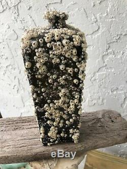 1700s black glass olive green clay mold Gin bottle barnacles / Florida