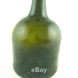 1730-1770 American Or English Magnum Mallet Black Glass Wine Bottle, Cracks Etc