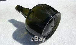 1800's Antique Black Glass P. Dawson Glenievit Whiskey Bottle! Attic Mint