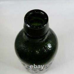 1850s G. W. Weston & Co Saratoga NY Black Olive Green Glass Bottle Mineral Water