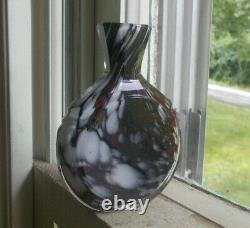 1850s RED, WHITE & BLACK CASED CUT GLASS SCENT BOTTLE POCKET COLOGNE RARE FORM