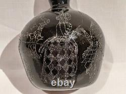 1854 Scottish Black Glass Wine Bottle, Very Elaborate Stipple Etched Designs
