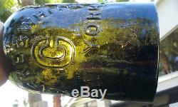 1860's Antique Black Glass Clarke & White, Saratoga Quart Size Water Bottle