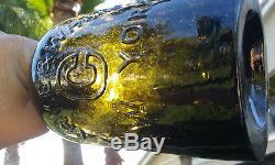 1860's Quart Size Antique Black Glass Clarke & White, Saratoga Water Bottle