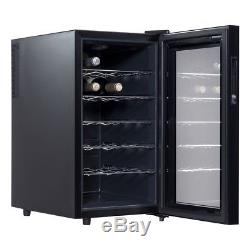 18 Bottle Bar Thermoelectric Wine Cooler Cabinet Glass Door Electronic Touchpad