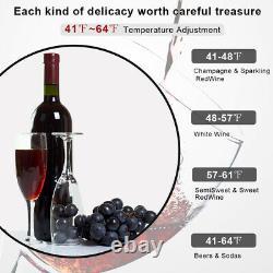 18 Bottle Wine Cooler Digital Temperature Control Fridge LED, Clear Glass Door