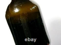 18thC Olive Glass Free Blown Wine Bottle with Original Cork full #FH