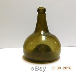 18th Century ANTIQUE Dutch Black Glass Onion Bottle 1970's DIVE FIND S. C. Coast