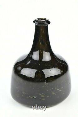 18th Century English Black Glass Squat Mallet Bottle