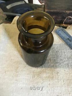 18th Century Nice Rare Black Glass 1780 Open Pontil Food Jar Bottle Applied Neck