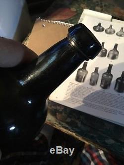 18th Century Rev War Black Glass 1700s Rum Bottle Nice String Ring Neck