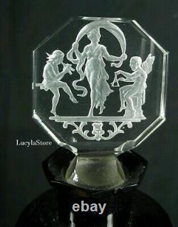 1920' Antique CZECH Hoffman & Schlenvogt PERFUME BLACK BOTTLE Crystal + Dish Set