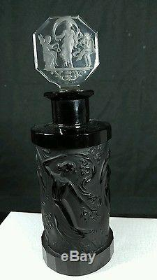 1920' Antique CZECH Hoffman & Schlevogt PERFUME BOTTLE BLACK CLEAR GLASS Crystal