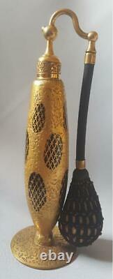 1920's DeVilbiss Lush Encrusted Gold & Black Perfume Atomizer Bottle Cigar Shape