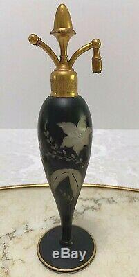 1923 DeVilbiss Carved Black Cambridge Glass Perfume Acorn Atomizer Bottle As Is