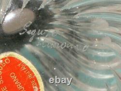 1950's ARCHIMEDE SEGUSO MURANO CLEAR BLACK SWIRL RIBBED PERFUME BOTTLE SIGNED