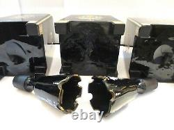 19TH Cent. MOSER OPALINE BLACK GLASS HAND PAINTED BOTTLES PERFUME SET