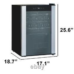 19 Bottle Wine Cooler Compressor Fridge Drinks Chiller Cellar S/Steel Glass Door