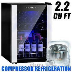 19 Bottles Wine Cooler Compressor Fridge Glass Door Cellar Bar with Metal Shelf
