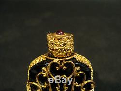 19th C. JEWELED GILT FILAGREE OVER BLACK OPAQUE GLASS SCENT / PERFUME BOTTLE