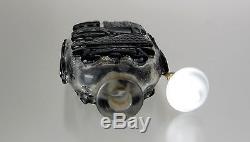 19th C, Peking Glass Black Overlay Snuff Bottle, Nine Bronze Vessels