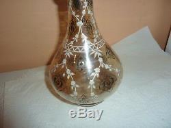 19thc Light Marigold Glass 25.5 CM Vase/bottle With Black & White Flower Enamels
