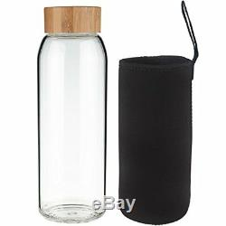 1 Liter Glass Water Bottle 34 oz Leak Proof with Bamboo Lid & Protective Sleeve