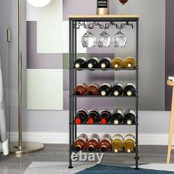 20 Bottle 3 Glass Holder Metal Wine Rack Wine Storage Shelves Wine Display Black