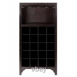 20-Bottle Espresso Wine Bar Cabinet with Glass Holder Rack Winsome Wood Ancona