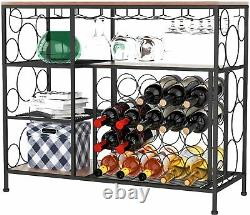 20 Bottle Metal Wine Rack Wine Storage Console Table Wine Display withGlass Holder