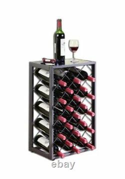 23 Bottle Wine Rack with Glass Table Top, Pewter