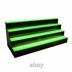 24 LED BOTTLE BAR RACK SHELF, Four Steps, 7 Color Changing Lights, Glass Display