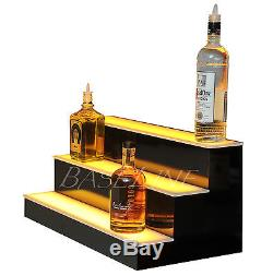 24 LED BOTTLE RACK BAR SHELF, 3 Step Home Bar Glass Display Shelving Rack