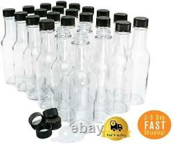24 Pack 5 oz. Clear Glass Hot Sauce Bottle woozy with Black Cap + Shrink band