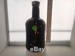 25# c. 1700's-1800's BLACK GLASS BLOWN PORT BOTTLE SEA SALVAGED PIRATE ARTIFACT