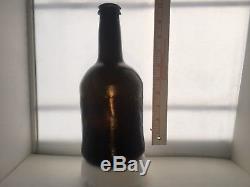 26# c. 1700's-1800's BLACK GLASS BLOWN PORT BOTTLE SEA SALVAGED PIRATE ARTIFACT