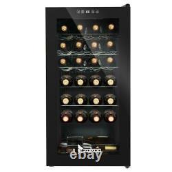 28 Bottle Compressor Wine Cooler Refrigerator Bar Quiet Operation Glass Door