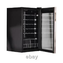 28 Bottles Wine Cooler Beverage Beer Cooler Mini Refrigerator Bar Glass Door