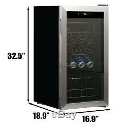 28 Bottles Wine Cooler Compressor Chiller Beer Cellar Stainless Steel Glass Door