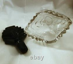 (2) New Martinsville Glass Co. Black Art Deco Perfume Bottles with Feather Daubers